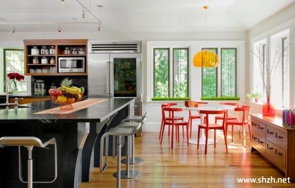 餐厅厨房阳台 飘窗橱柜飘窗壁橱餐桌效果图高清图片