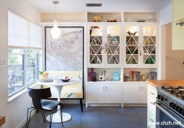 餐厅厨房橱柜餐桌壁橱灯具背景墙装饰画效果图