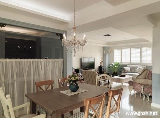 现代美式餐厅客厅沙发餐桌灯具吊顶效果图