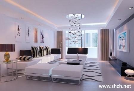 现代欧式冷色客厅沙发吊顶灯具效果图装饰画