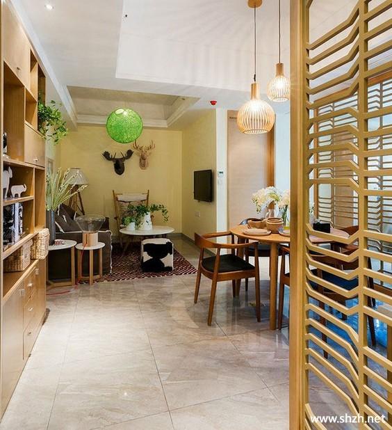 清新 舒适/现代简约客厅餐厅沙发餐桌小户型实景图