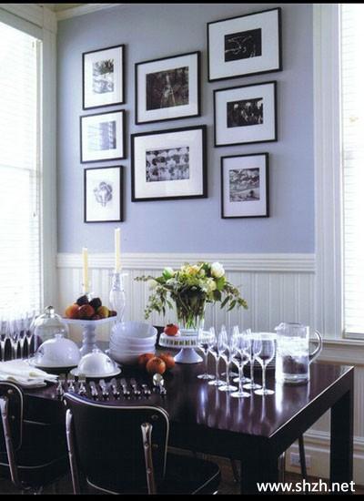 现代简约餐厅餐桌背景墙装饰画效果图
