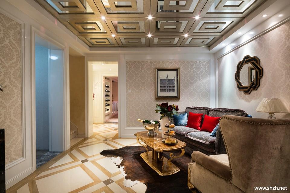 現代客廳別墅沙發裝飾畫茶幾實景圖