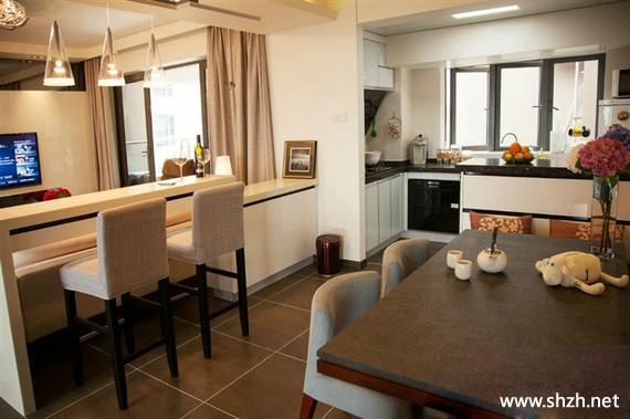 客厅 餐厅/现代客厅餐厅厨房吧台餐桌吊顶中户型实景图