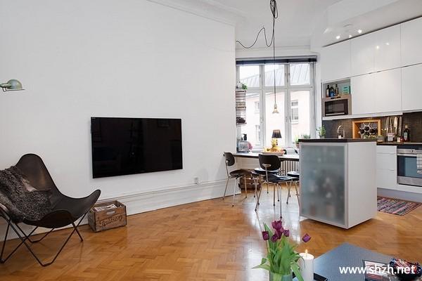 现代客厅厨房餐厅橱柜小户型实景图