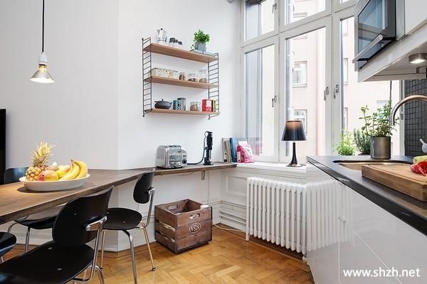 现代餐厅厨房橱柜餐桌壁橱小户型实景图