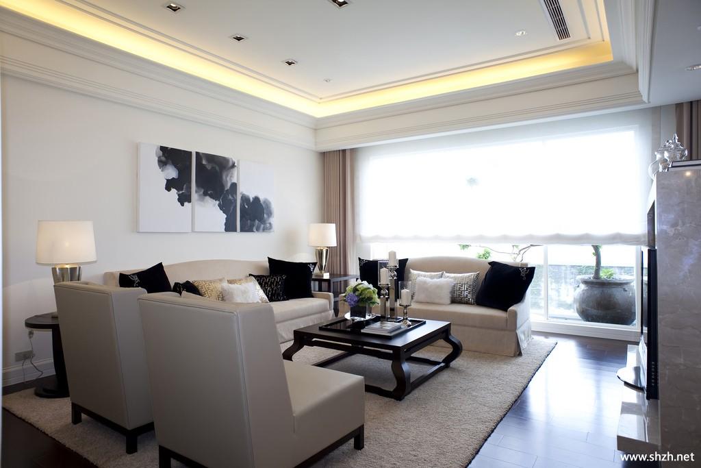 现代简约欧式客厅沙发装饰画实景图