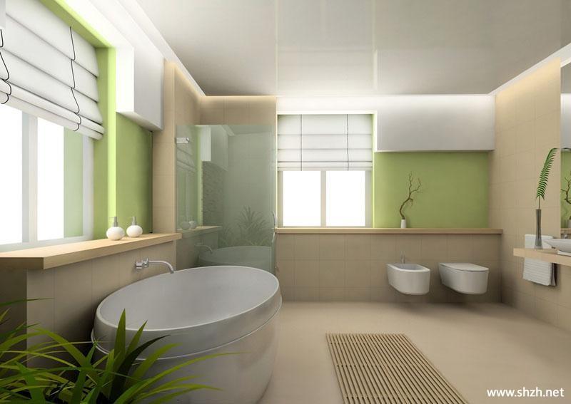 简约冷色卫生间浴缸效果图