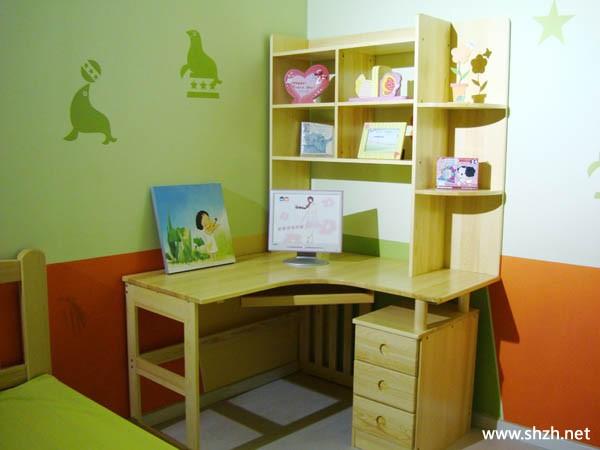 书房混搭转角书桌效果图