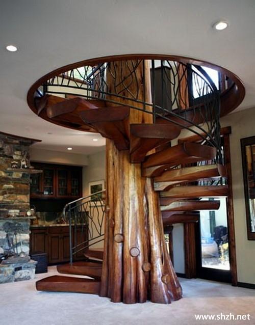 中式欧式混搭另类豪华别墅楼梯效果图