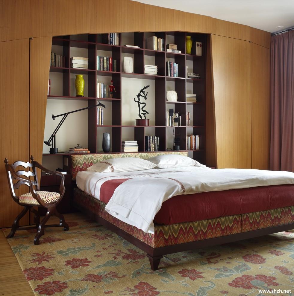 中式简约卧室床头背景墙博古架书柜效果图