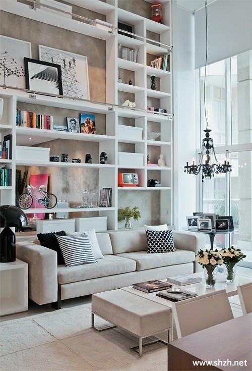 地中海韩式混搭清新客厅沙发背景墙博古架效果图