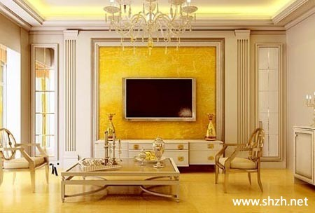 欧式豪华暖色客厅电视背景墙