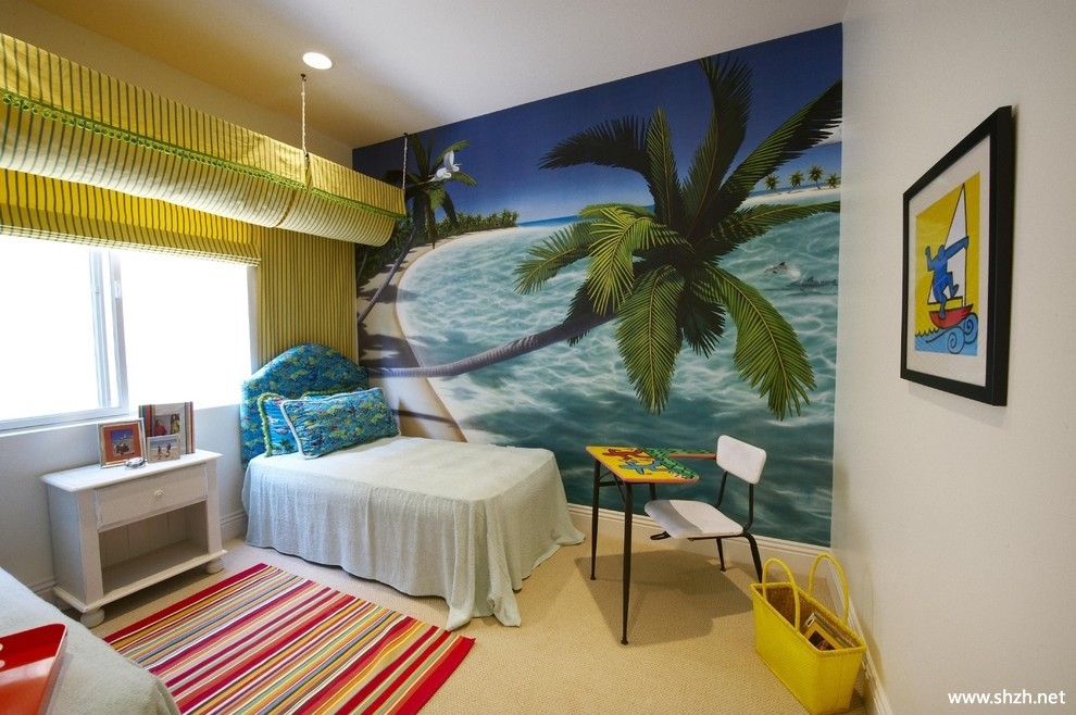 地中海海南风清凉儿童房卧室手绘墙