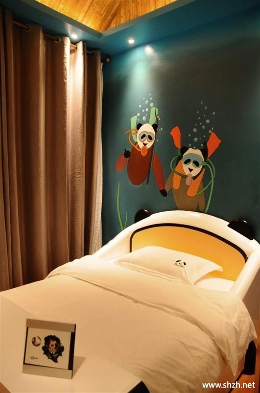 韩式简约儿童房卧室手绘墙