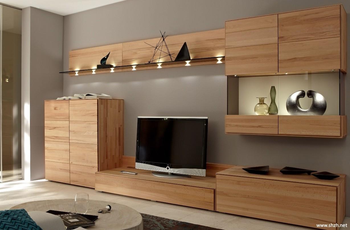 中式简约清新客厅电视柜效果图图片