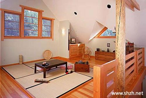 日式阁楼书房卧室榻榻米一体装修效果图大全