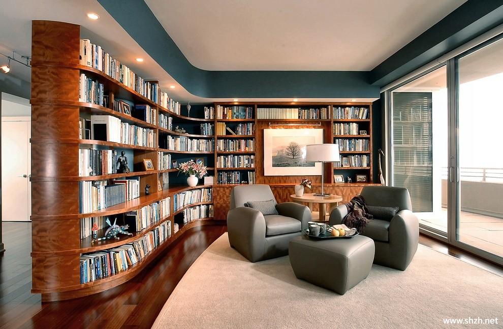 美式欧式混搭豪华古典书房效果图