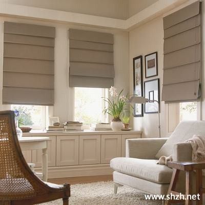 Roman Shade Over Blinds