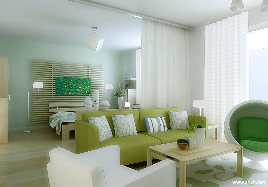 地中海简约清新单身公寓效果图