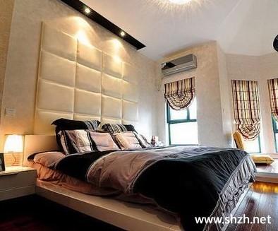 欧式豪华暖色卧室床背景墙效果图