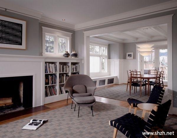 客厅 灰色/客厅餐厅书架/书柜壁炉餐桌实景图