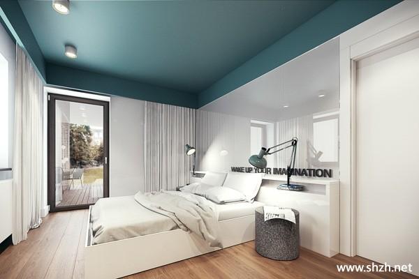 卧室背景墙灯具床别墅效果图
