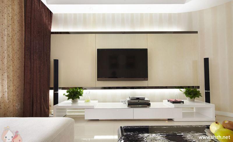 现代简约客厅电视柜背景墙实景图