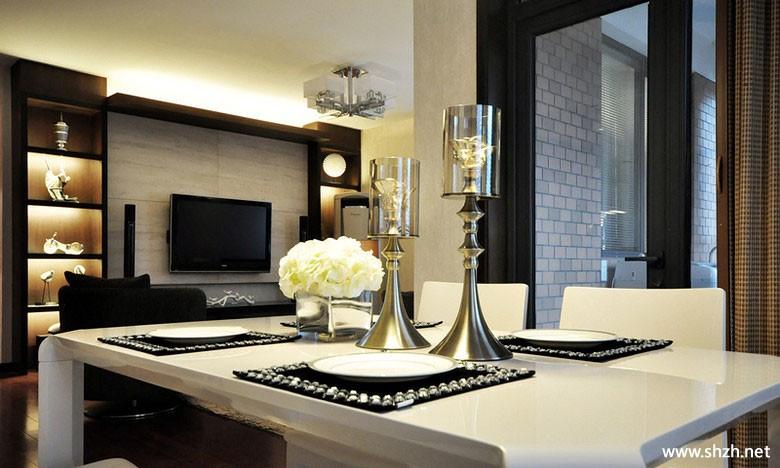 客厅 欧式/欧式客厅餐厅餐桌电视柜储物架/储物柜实景图