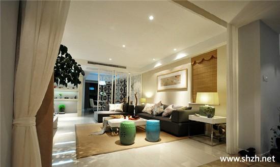 新中式暖色客厅沙发茶几装饰画地毯实景图