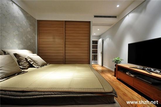 新中式卧室电视柜床衣柜暖色效果图