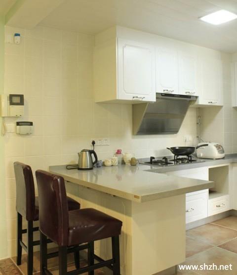 新中式厨房吧台橱柜实景图图片