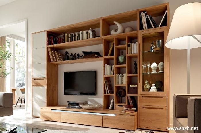 客厅书架/书柜背景墙电视柜实景图