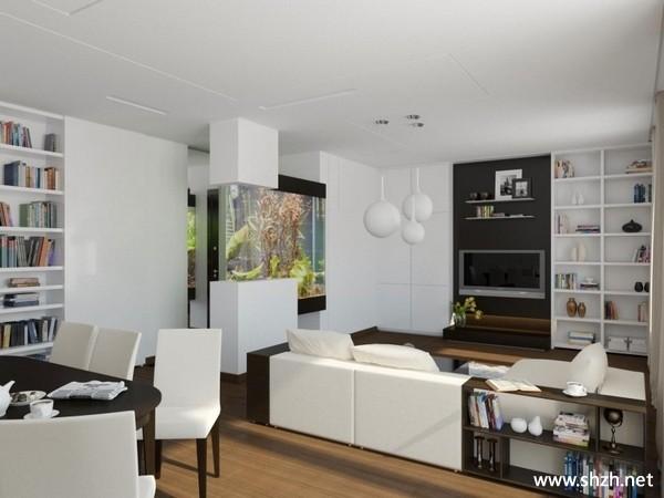 现代简约客厅餐厅沙发餐桌背景墙收纳
