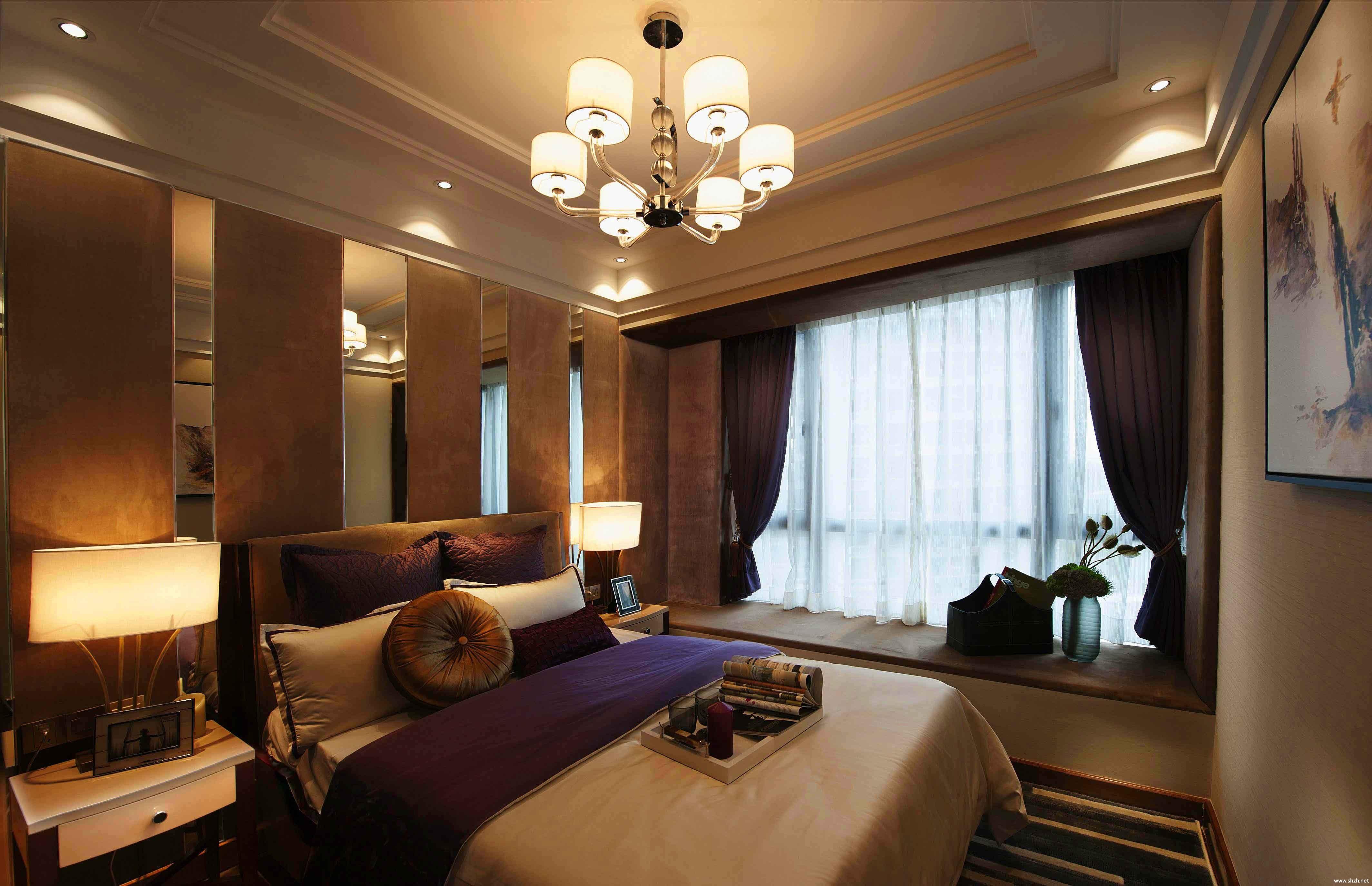 新古典卧室吊顶效果图-上海装潢网