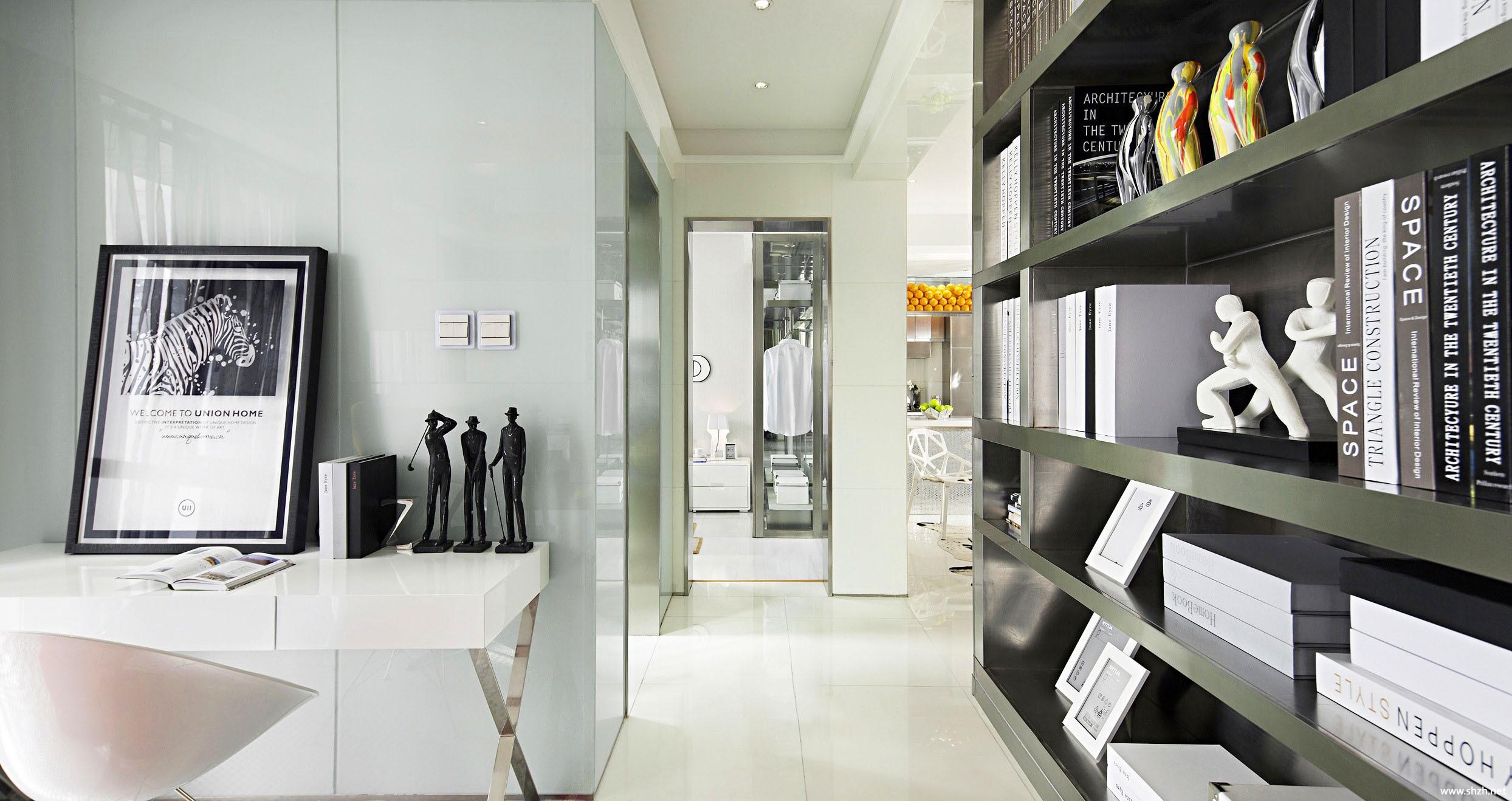 现代过道书架/书柜效果图-上海装潢网