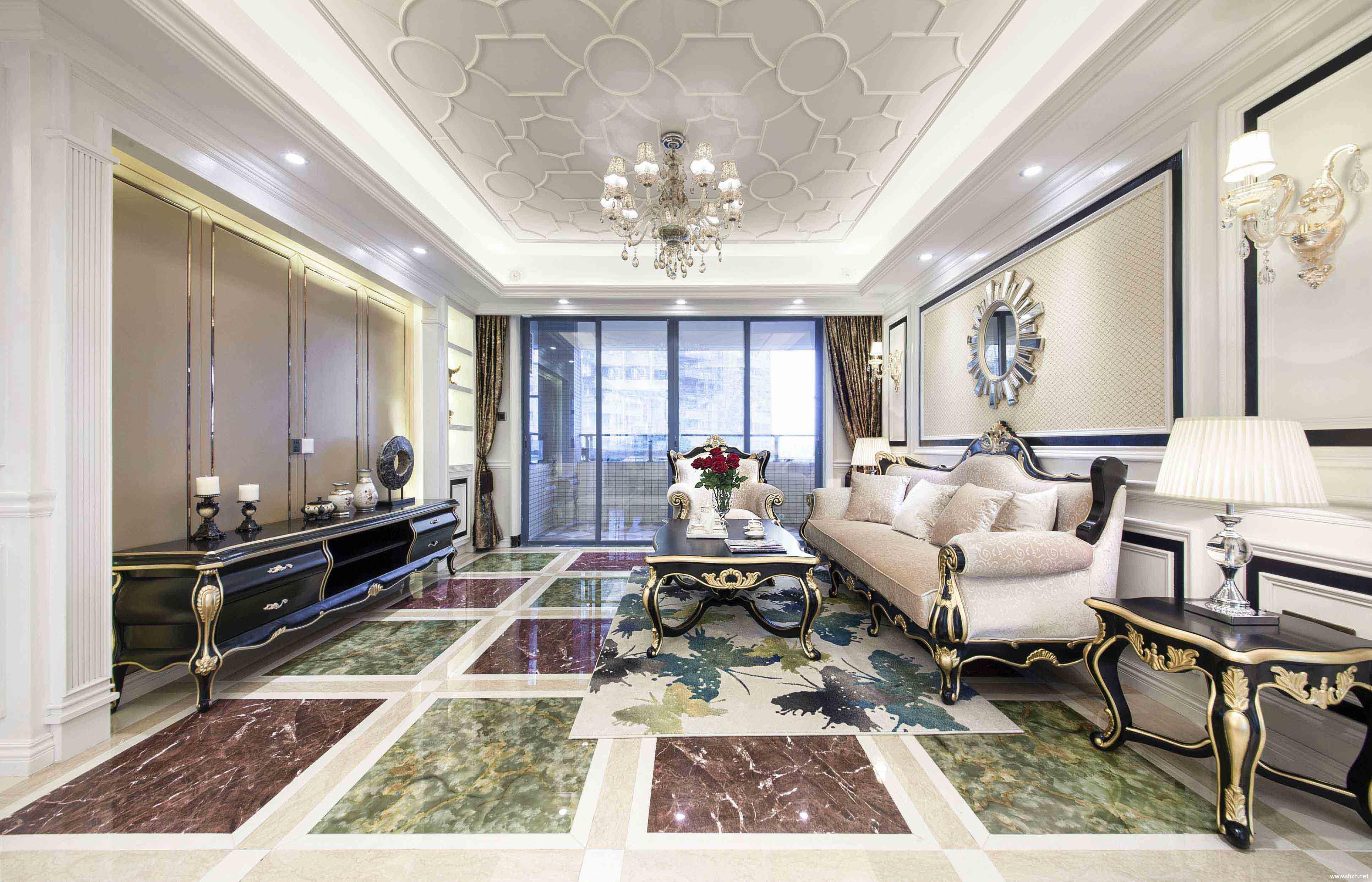 欧式客厅沙发茶几效果图-上海装潢网