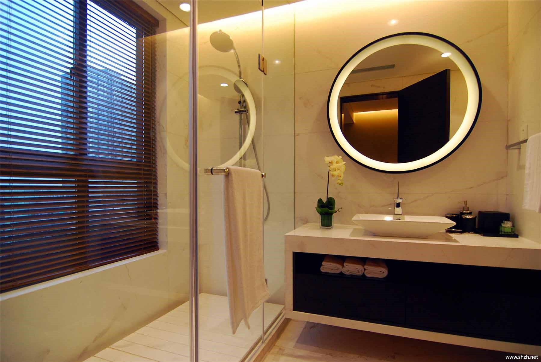 现代卫生间淋浴房洗手池效果图
