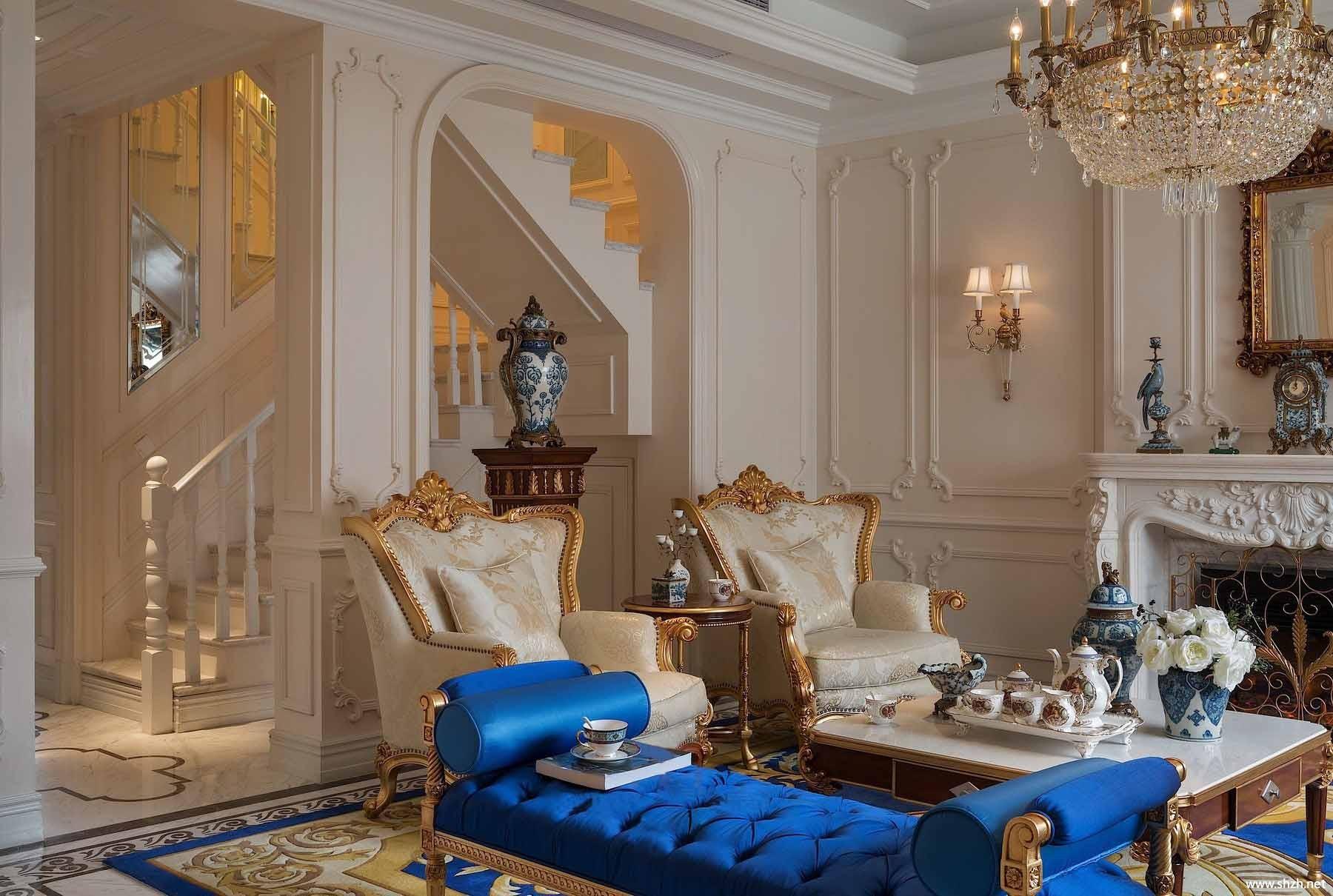 法式客厅沙发茶几效果图图片