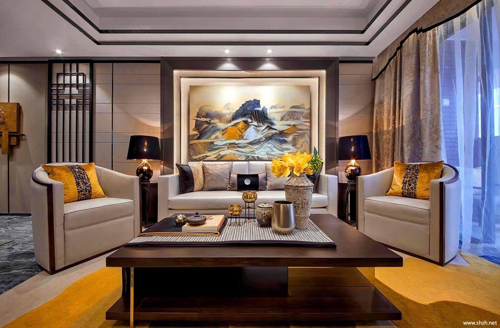 中式客厅沙发茶几效果图图片