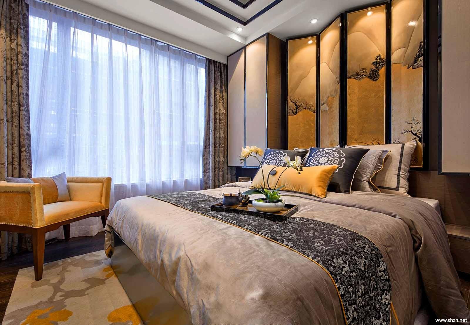 中式卧室床效果图图片