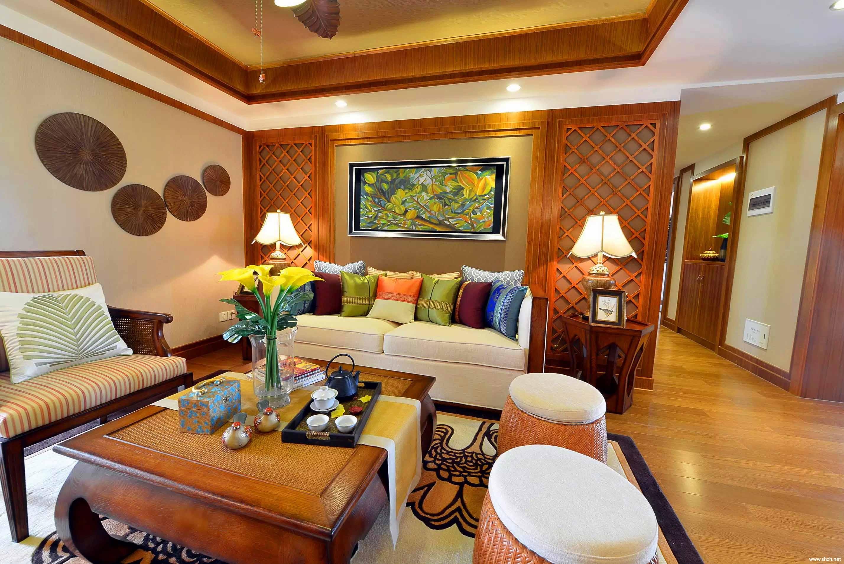 中式客厅沙发茶几效果图