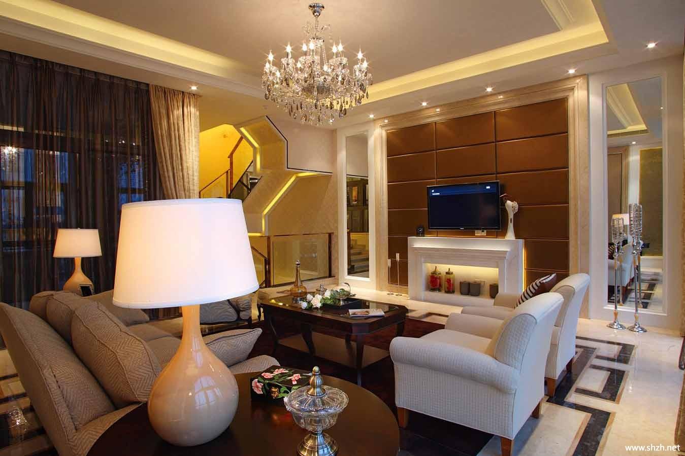 欧式别墅客厅背景墙-上海装潢网