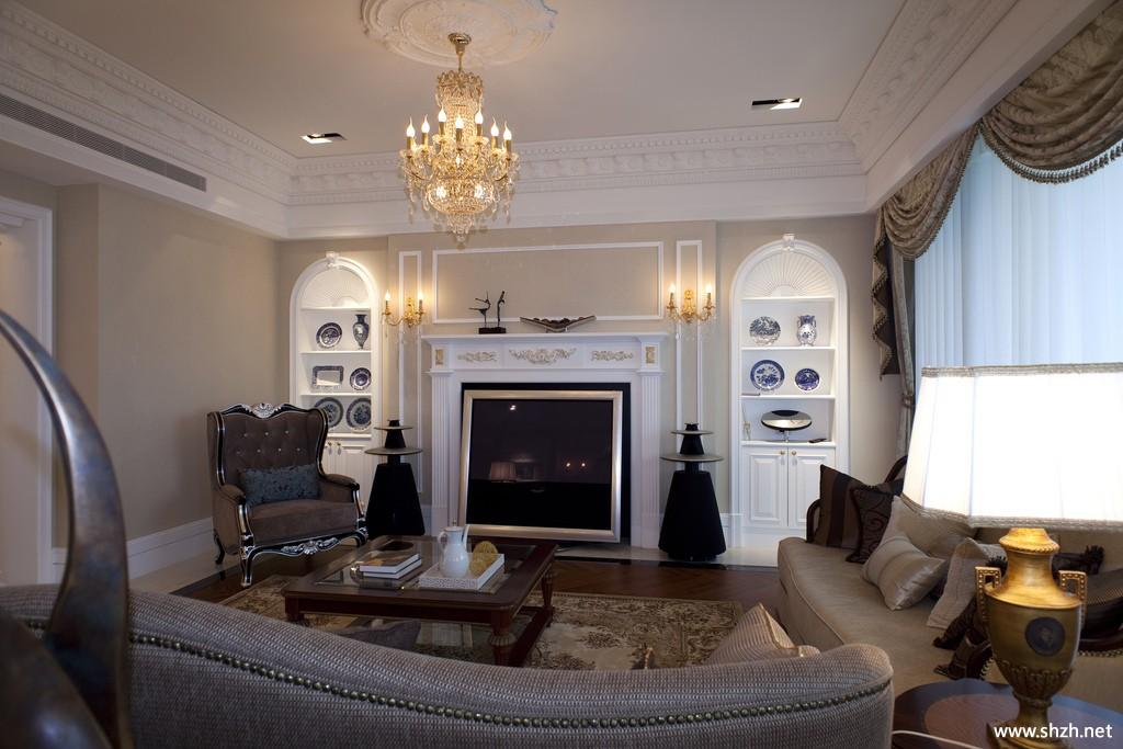 欧式大户型客厅沙发茶几-上海装潢网