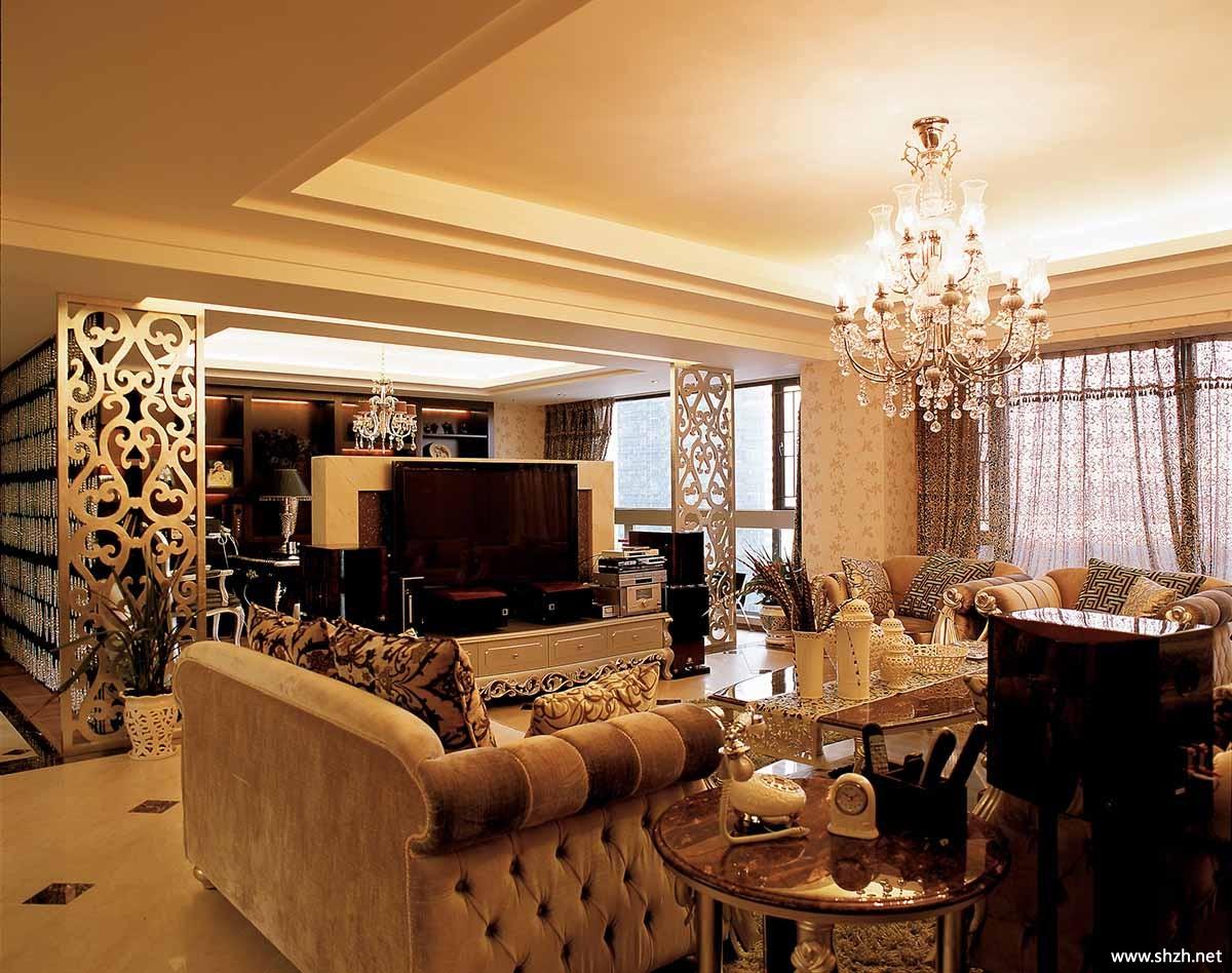 欧式大户型客厅沙发茶几