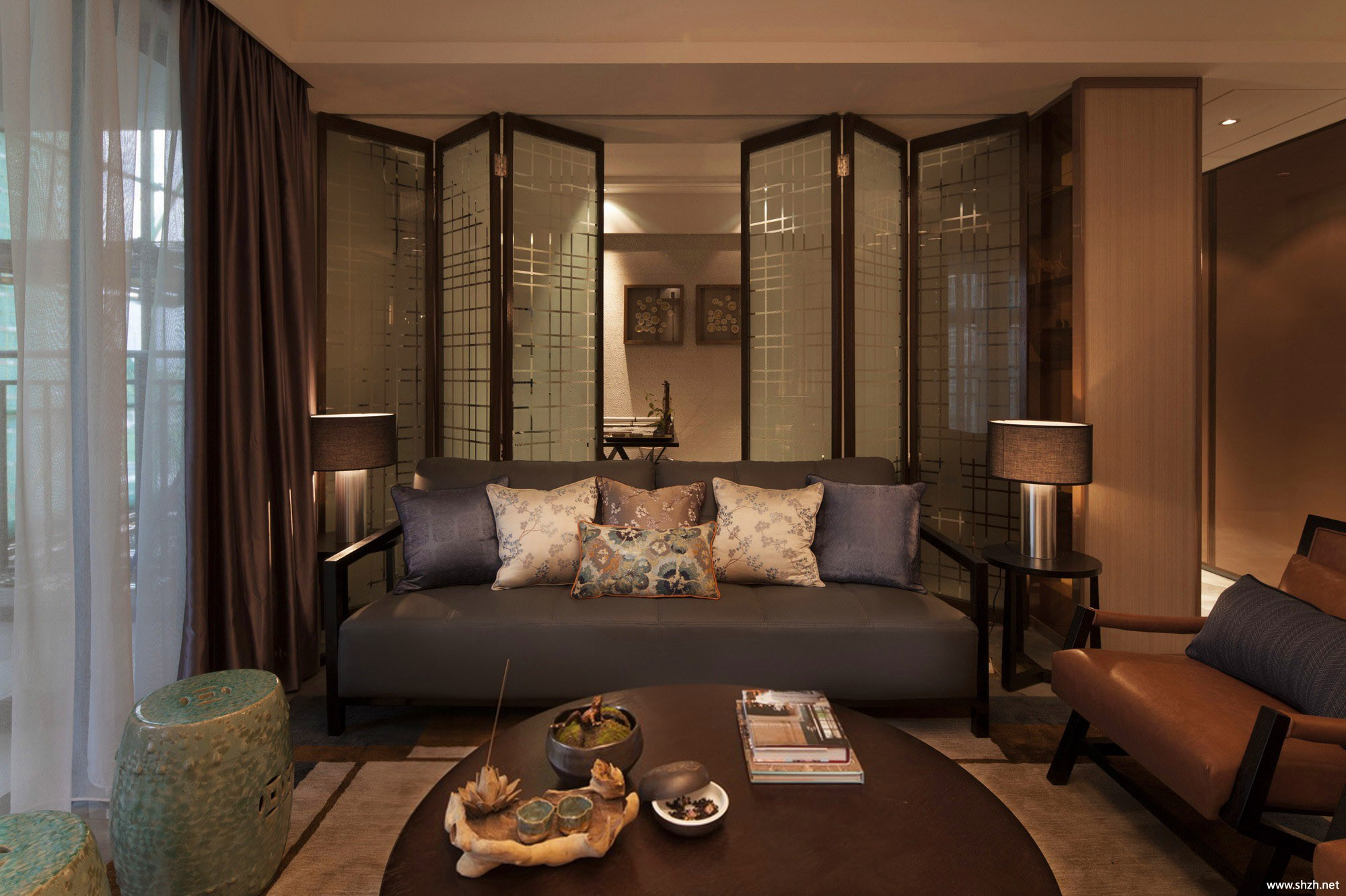 新中式客厅沙发效果图