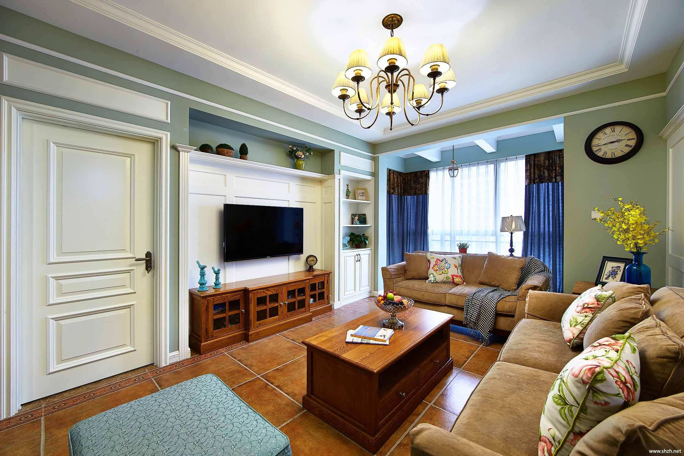 美式大户型客厅沙发茶几