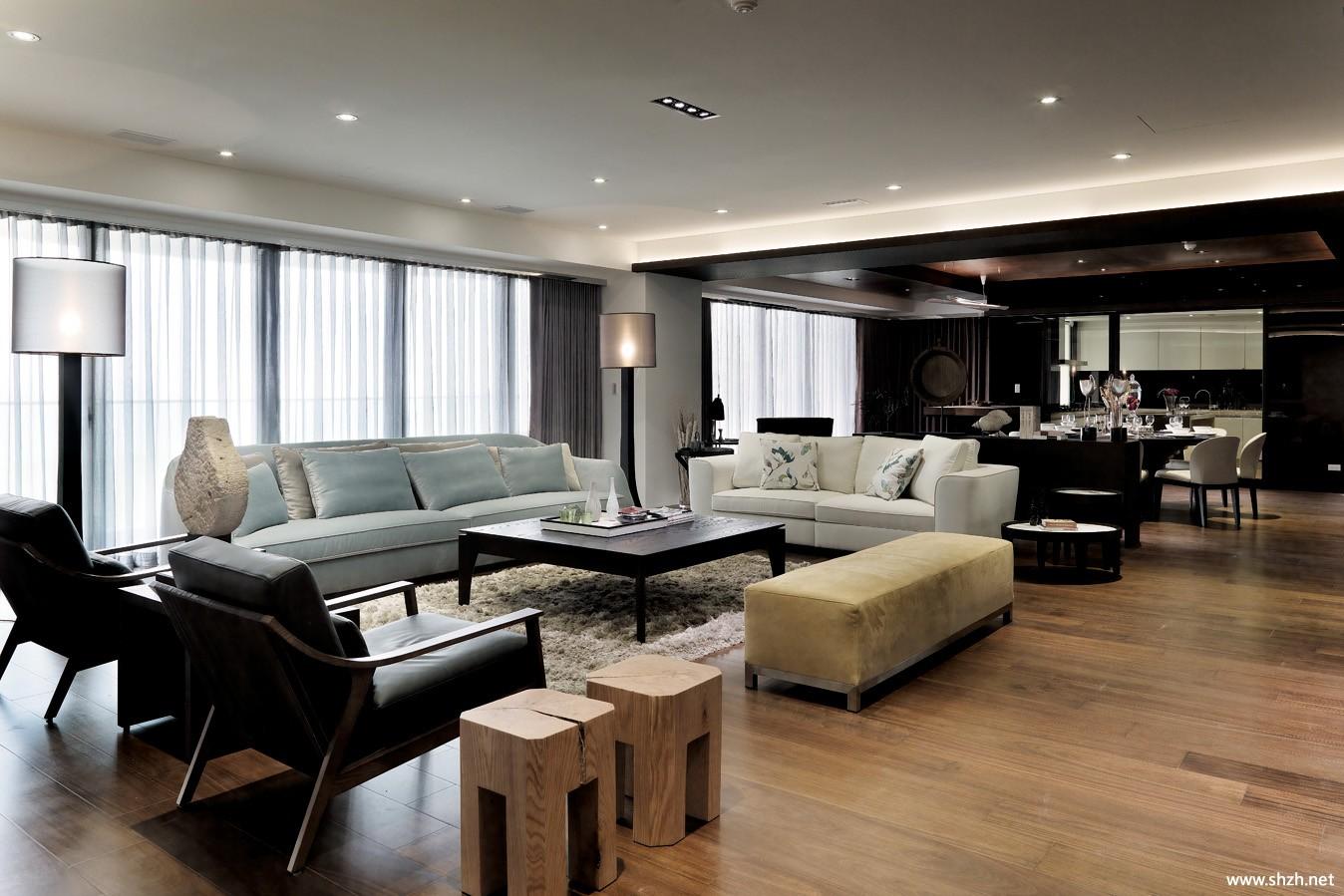现代大户型客厅沙发茶几