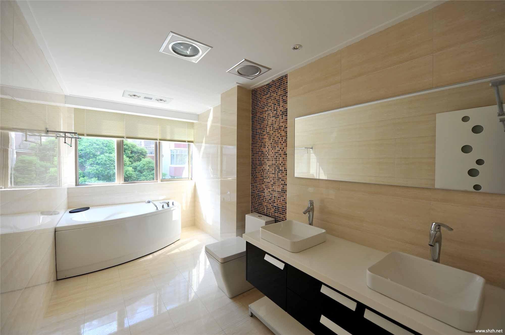 现代跃层复式卫生间浴缸洗手池