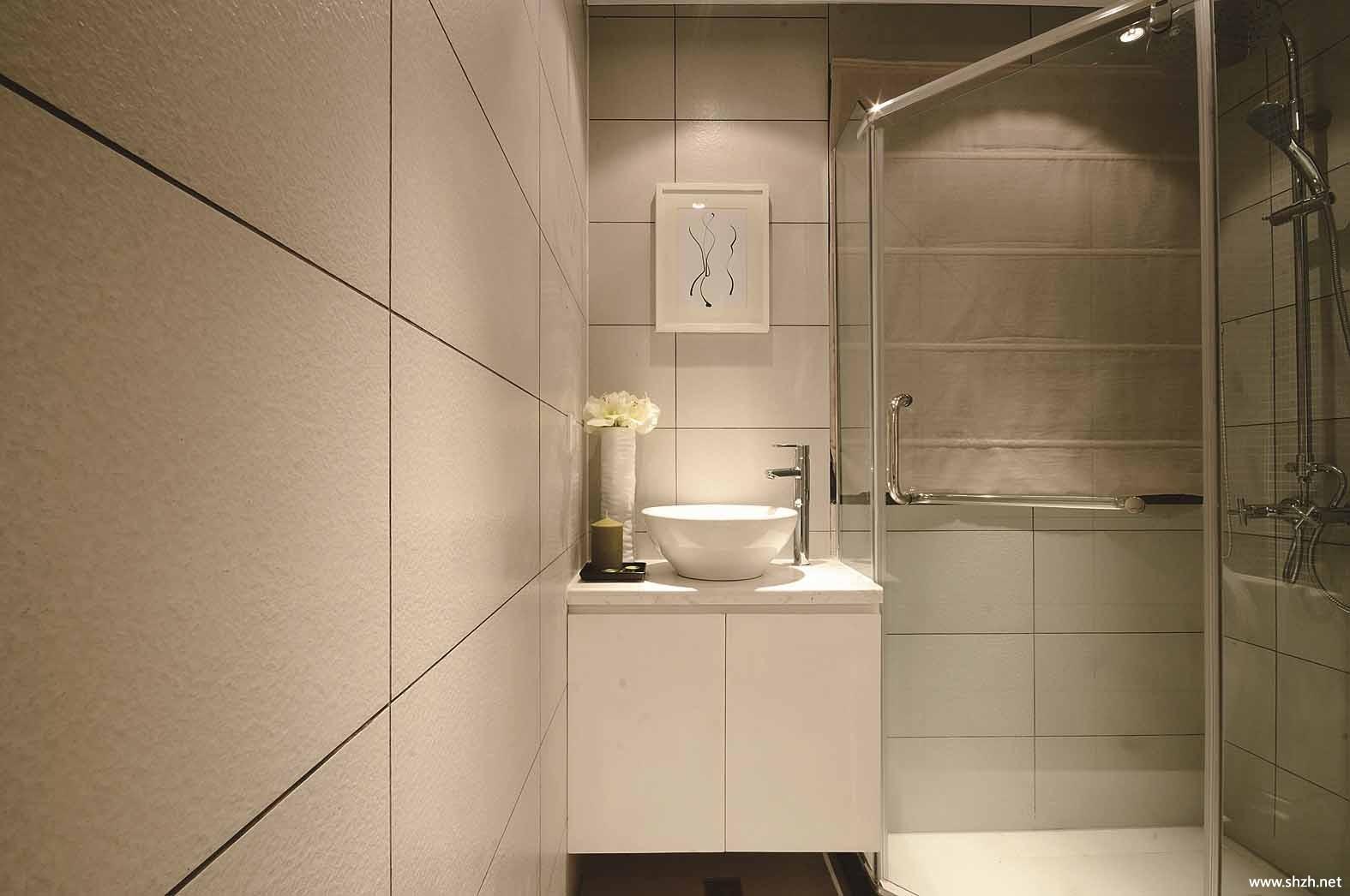 现代中户型卫生间洗手池淋浴房